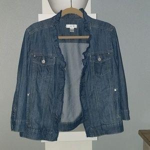 Adorable ruffle collared jean jacket